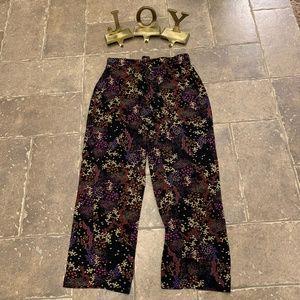 Tahari Black Floral Tie String PJ Lounge Pants